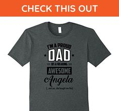 Mens I'm A Proud Dad Of A Freaking Awesome Angela T-shirt 3XL Dark Heather - Relatives and family shirts (*Amazon Partner-Link)