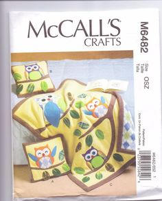 New McCalls Baby Quilt pattern owl quilt pillows two styles baby owl nursery design. $5.00, via Etsy.