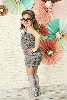 Lace Petti Romper- Girl's Vintage Style Pettiromper - Gray, Grey- 5T, 6, 7, 8, 9, 10 - pair it with tutu or pettiskirt, birthday photoshoot
