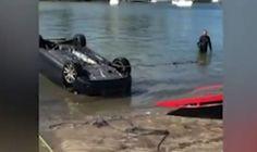 Car rolls out to sea as girl paaaaannnniiiiiicks over spider.