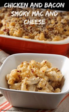 Creamy mac and cheese made with smoked cheeses & topped with bacon & crispy panko. Chunks of chicken make this a complete meal in one your family will love!