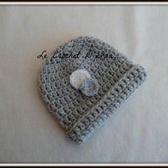 Bonnet layette bebe  au crochet taille naissance
