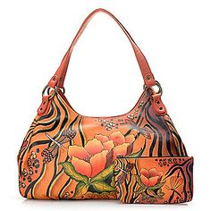 Anuschka Hand-Painted Leather Multi Compartment Hobo Handbag w/ Pouch