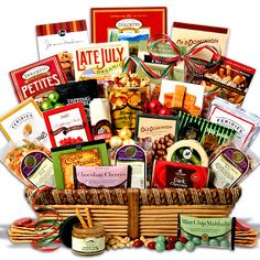 Ultimate Christmas Gift Basket. When you absolutely need to make a big, lasting impression this holiday without resorting to the same old tired holiday gift baskets, say it in style with our Christmas Gift Baskets. This Christmas Snack Gift Basket is a fantastic, elegantly packaged gift that anyone would be delighted to receive. It is big, and loaded to the brim with delicious award-winning gourmet snacks that are all ready to 'open and eat' within minutes of arrival. Perfect for offices…
