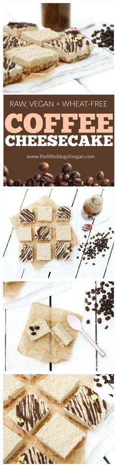 Vegan, Wheat-free, Gluten-free, Low Sugar, Egg-free RAW Coffee Cheesecake squares with a Chocolate drizzle! SO YUMMY