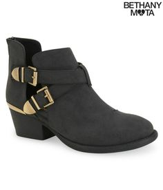 New Aeropostale Bethany Mota Cut-Out Buckle Bootie Ankle Boot Faux Leather Black