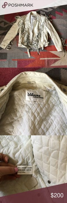 Wilson Fringe Leather Jacket All white vintage leather jacket. Fringe on the front, back and sleeves. Mint condition! No damage or rips. Wilsons Leather Jackets & Coats