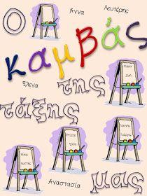 """Δραστηριότητες, παιδαγωγικό και εποπτικό υλικό για το Νηπιαγωγείο & το Δημοτικό: """"O καμβάς της τάξης μας"""": μία πρόταση διακόσμησης πόρτας New School Year, Back To School, Class Decoration, Classroom Organization, Activities For Kids, Calendar, Blog, Decorations, Classroom Setup"""