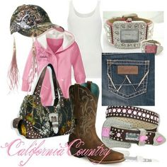 Pink camo and bling. Cute Country Outfits, Country Girl Style, Country Fashion, My Style, Southern Style, Country Life, Country Wear, Country Attire, Country Living