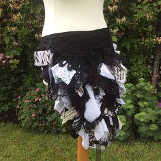 bustle belt, tribal belly dance bustle, black and white bustle, rag bustle, fairy costume, fantasy, goth bustle, circus
