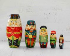 Vintage Collection 5 NUTCRACKER Nesting Dolls Christmas Decoration