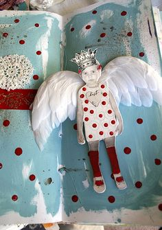 Cupid art journal page Paper Art, Paper Crafts, Diy Crafts, Art Journal Pages, Art Journals, Photos Folles, Paper Dolls, Art Dolls, Art Altéré
