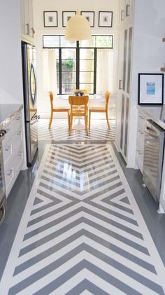 paint a rug in the kitchen ...grey striped design like Jonathan Adler's bridget kilim rug Love this