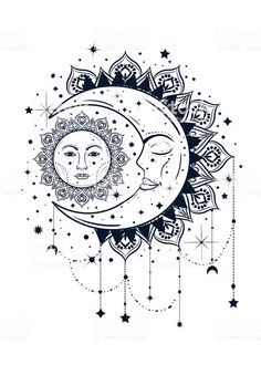 Vintage boho illustration of sun and moon. Dreamcatcher concept royalty-free vintage boho illustration of sun and moon dreamcatcher concept stock vector art & more images of alchemy Mandala Art, Mandala Tattoo Design, Moon Tattoo Designs, Mandalas Drawing, Mandala Sun Tattoo, Tattoo Design Drawings, Sun And Moon Drawings, Sun Drawing, Boho Illustration