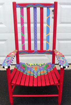 Painted Chairs for Auctions   went with cheerful colors of purple, green, pink, orange and yellow ...