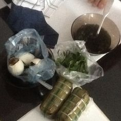 Wow mom that's your lunch? #grass jelly #rawherbs #steamed #banana buns in their leaves #balut #eggs #savage