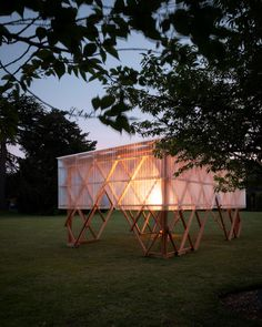 The upper section of the pavilion is covered with corrugated fibreglass to create a protected space that can be used for events or to display art.