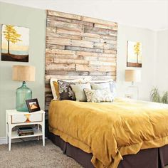 Outdoors indoors. Wooden headboard for the bedroom. I love the height of this and the canvases on either side. Could use pallets for this one and stain them different shades for the multi-color wood look.