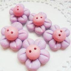 Polymer Clay Buttons Purple & Pink Flowers 5pc set