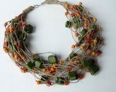 Ocean Breeze aquamarine wooden beads Linen Necklace by Cynamonn