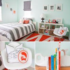 Boys' room - Gray, Aqua + orange
