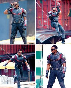 """Anthony Mackie (Sam Wilson/Falcon) on the set of """"Captain America: Civil War,"""" May 15, 2015."""
