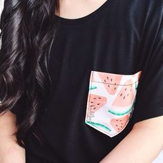 simple tee but with a cute twist :). Love the watermelon pocket.