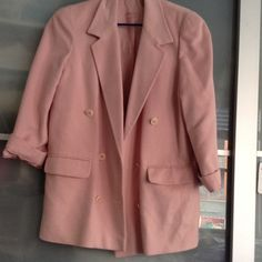 Burberry's wool jacket light pink oversized jacket Size 10, with shoulder pads, you can have it removed. I never got the chance to take it to alteration to remove pads. Burberry Jackets & Coats Trench Coats