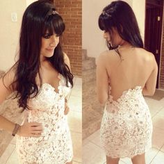 Find More Roupas & acessórios Information about 2014 Slim Fit Design Crochet Branco Sexy Vestido bandagem sem encosto Prom Party vestido LQ4807,High Quality vestir-se de Papai Noel,China barbies vestido Suppliers, Cheap vestidos de baile from FashionAhead on Aliexpress.com