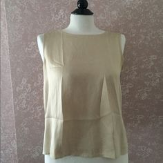 Eileen Fisher Beige Silk Tank Top Cami Shell S Eileen Fisher Beige Tan Silk Tank Top Cami Shell Small S Sleeveless EUC Trades Eileen Fisher Tops Camisoles