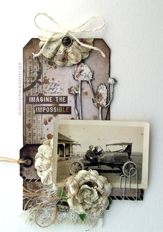 by DeeDee Catron: Imagine The Impossible { A Scrapki-wyzwaniowo challenge } Vintage using 7 dots Studio, UmWowStudio, Prima Marketing Inc, Lindy's Stamp Gang, May Arts Ribbon and Sparkling Gnome Studios