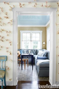 """Update your art collection with spring on the mind. This installation by artist Bradley Sabin (through Voltz Clarke Gallery) is beautiful! The dogwood blossoms keep Spring in your home 365 days a year."" —Sara Gilbane   - ELLEDecor.com"