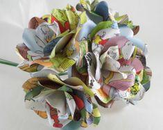 6 x Rupert Bear Roses en papier, livre papier fleur Roses, fleurs en papier fait à la main, fleurs Fun, fleurs de mariage mignon