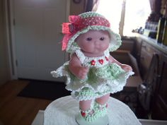 "Berenguer 5"" Baby Dolls - Soft green with red trim #67  More can be seen on Pinterest under Jana Langley Berenguer 5"" Dolls with crocheted outfits"