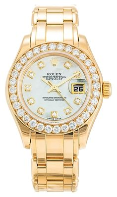 Pre-owned Rolex Pearlmaster 80298 Ladies Automatic watch. 29 mm Yellow Gold set with Diamonds case, with Champagne Diamond dial. Stylish Watches, Luxury Watches, Rolex Watches, Diamond Watches, Patek Philippe, Cartier, Adidas Watch, Silver Pocket Watch, Best Watches For Men