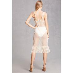 Forever21 Sheer Mesh Slip Dress (2.145 RUB) ❤ liked on Polyvore featuring dresses, midi dress, white slip dress, white v neck dress, ruffle slip and v neck dress
