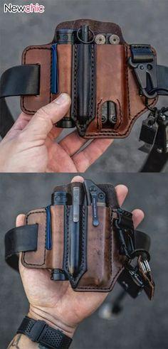 Leather Belt Bag, Leather Crossbody Bag, Leather Men, Leather Handbags, Edc Belt, Herren Style, Military Gear, Mens Clothing Styles, Leather Working