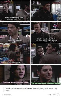 Gabriel and Castiel liking Sam and Dean