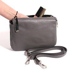 Italian Leather Cross Body Bag in Dark Grey Everyday Activities, Italian Leather, Leather Crossbody Bag, Dark Grey, Shoulder Strap, My Style, Cross Body, Bags, Handbags