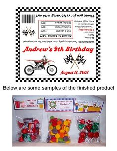 Dirt Bike Birthday Party Bag Toppers Favors w/Recloseable Bags-dirt bike,birthday,personalized,  party,bag,toppers,loot,bags,Festivity Favors,blue,red,orange,yellow,green,  dirt bike party bag toppers