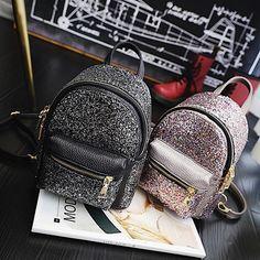 Needed style backpacks, stylish simple packs, elegant book bags, and classy ruksacks. Cute Mini Backpacks, Stylish Backpacks, Teen Backpacks, Leather Backpacks, School Backpacks, Sequin Backpack, Backpack Purse, Fashion Bags, Fashion Backpack