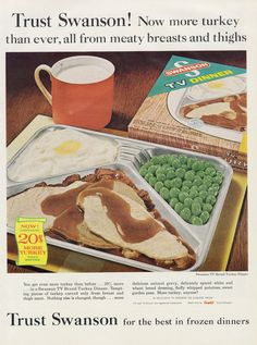 1960s Swanson TV Dinner Ad Turkey & Gravy Mashed by AdVintageCom