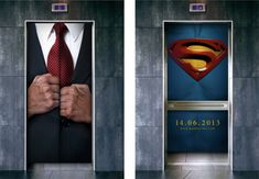 Clever street marketing ad - Man of Steel Guerilla Marketing, Street Marketing, Guerrilla Advertising, Clever Advertising, Advertising Design, Marketing And Advertising, Advertising Campaign, Marketing Ideas, Advertising Space