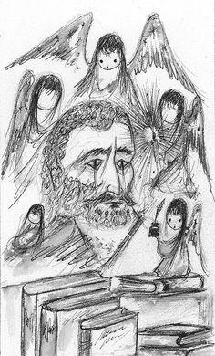 DeGrazia Sketches #NationalHistoricDistrict #DeGrazia #Artist #Ettore #Ted #GalleryInTheSun #ArtGallery #Gallery #Adobe #Tucson #Arizona #AZ #Catalinas #Desert #Ink #Sketches #Self #Portrait #Angels #Children