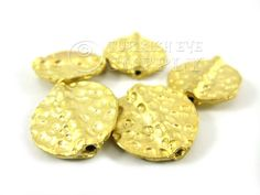 5 Pc Hammered Coin Spacer Beads 22K Gold by turkisheyesupply