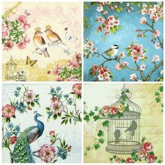 "4x Single Table Paper Napkins for Party Decoupage Craft ""Love Birds"" Mix 