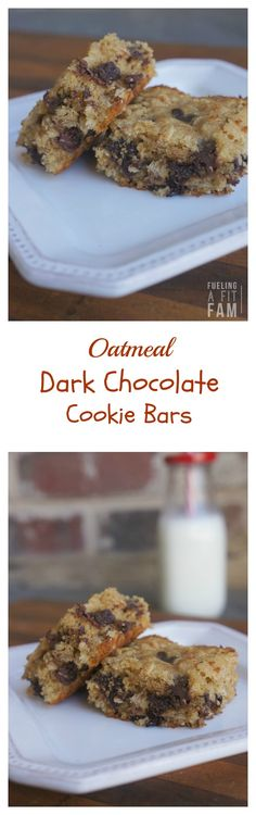 These oatmeal dark chocolate cookie bars are a hearty, healthier version of the blondie!
