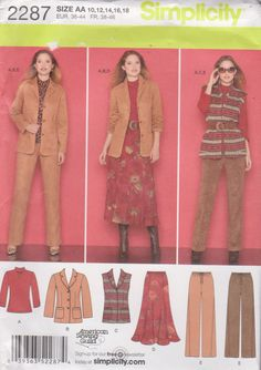 Simplicity Sewing Pattern 2287 Misses Size 10-18 Wardrobe Jacket Vest Pants Skirt Knit Top    Simplicity+Sewing+Pattern+2287+Misses+Size+10-18+Wardrobe+Jacket+Vest+Pants+Skirt+Knit+Top