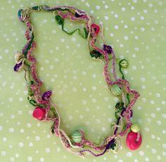 Collana Tricot cotone corda e legno : Collane di blanka-artigianatoresistente