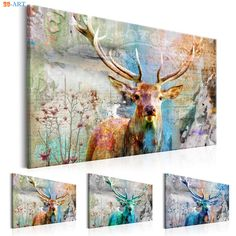 """""""Abstract Pictures Vintage Poster Deer Print Canvas Painting Wall Art Wall Painting Home Decor Romantic Gift"""" Love Wall Art, Love Art, Abstract Pictures, Deer Print, Ink Color, Vintage Posters, Romantic, Canvas Prints, Painting"""
